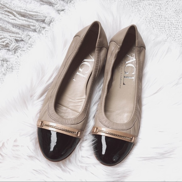 Agl Shoes Beige Leather Flats Poshmark